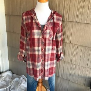 NWT Be Cool Red, grey & Ivory flannel hoodie
